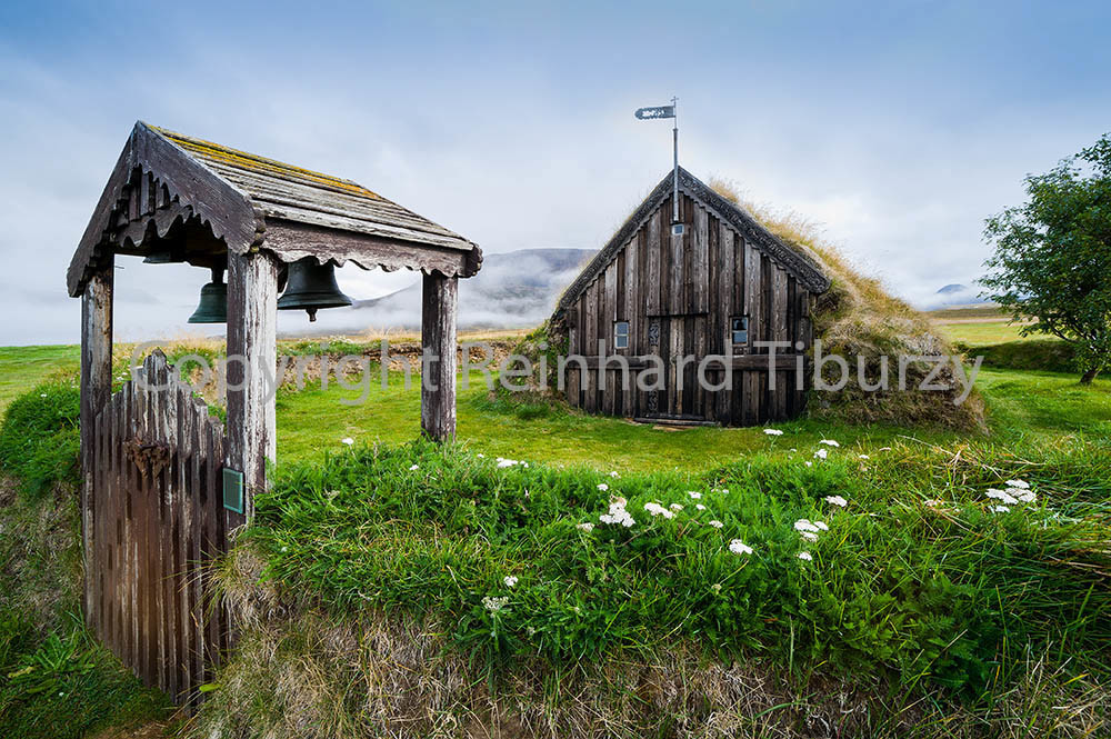 Turf church and bell tower at Groef, Iceland