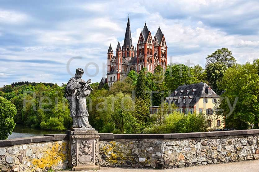 Limburg Lahn, Germany: Cathedral and Nepomuk statue.