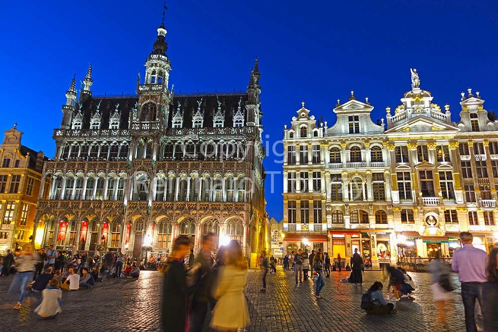 Brussels, Belgium, Grand Place at night. For editorial use only.