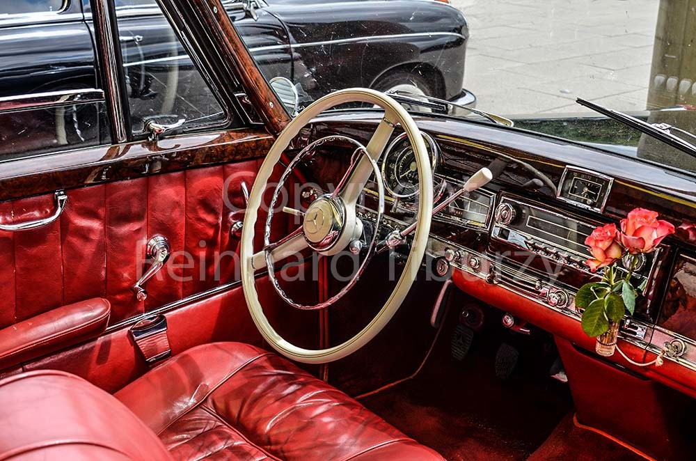 Old-timer, car, Mercedes, Mercedes-Benz, cabrio, red, vintage, old, inside, auto, automobile
