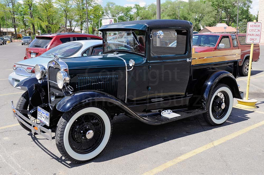 Old-timer, pick-up, truck, Ford, vintage, old, black, auto, automobile