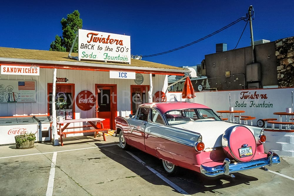 route 66, pink, old-timer, oldtimer, vintage, Ford, Fordomatic, car, cafe, Williams, Arizona, historic,