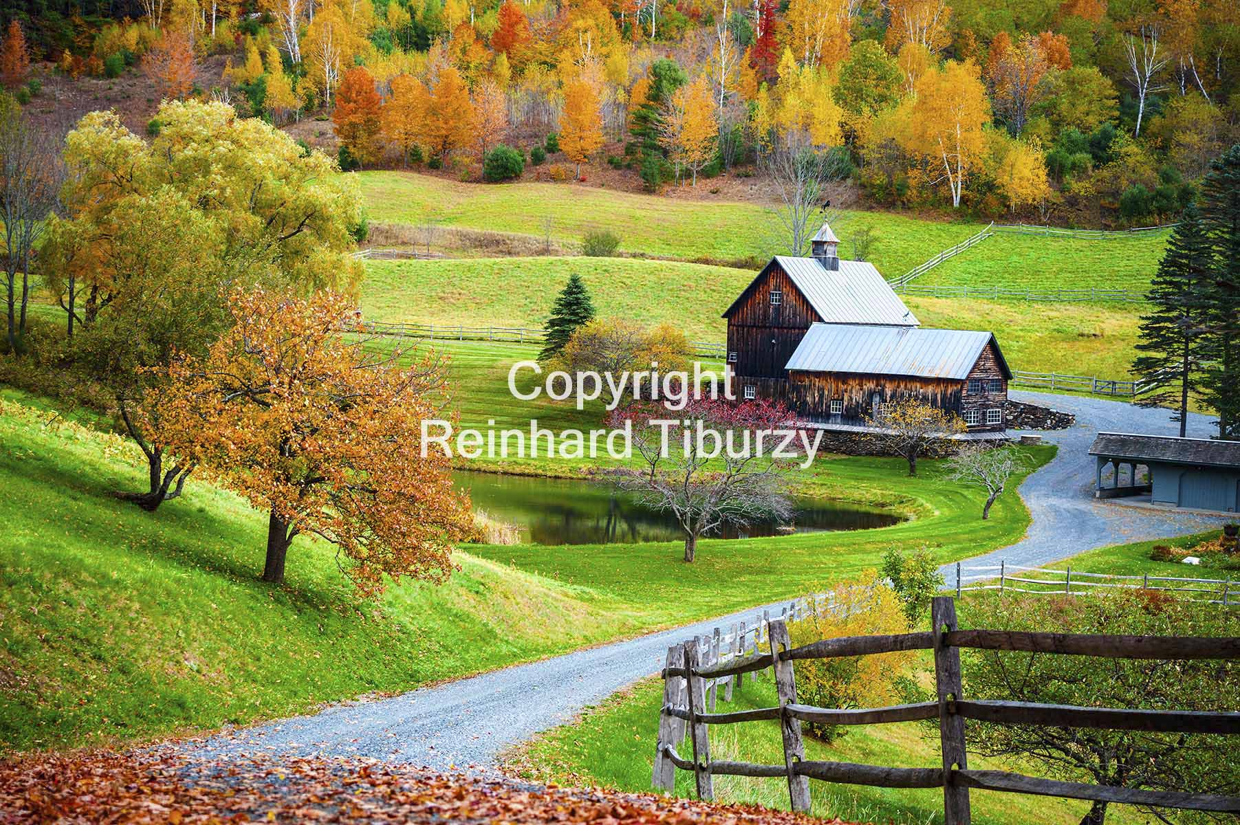 New England countryside, farm in autumn, Herbst, Indian summer, Vermont, USA, foliage, färbung, Herbstfärbung, color , coloring, coloration, farm, trees, laub, blätter, meadow, wiese